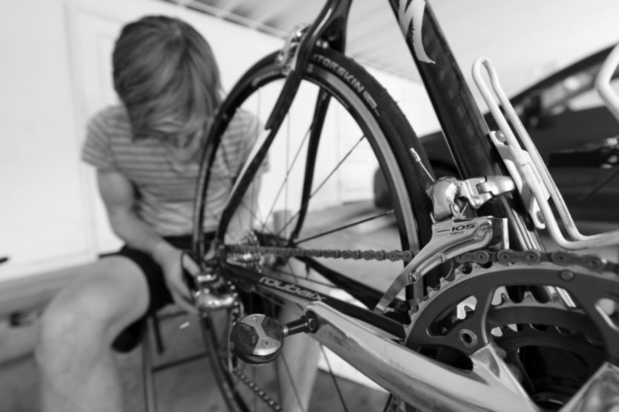 A bike gets a quick checkup. Photo by Peter Creveling.