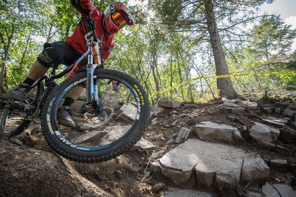 Racer Jacob Meyers takes the outside line around the rock garden at the IMCCC event at Sundance Mountain Resort. PC: Colin Eichinger