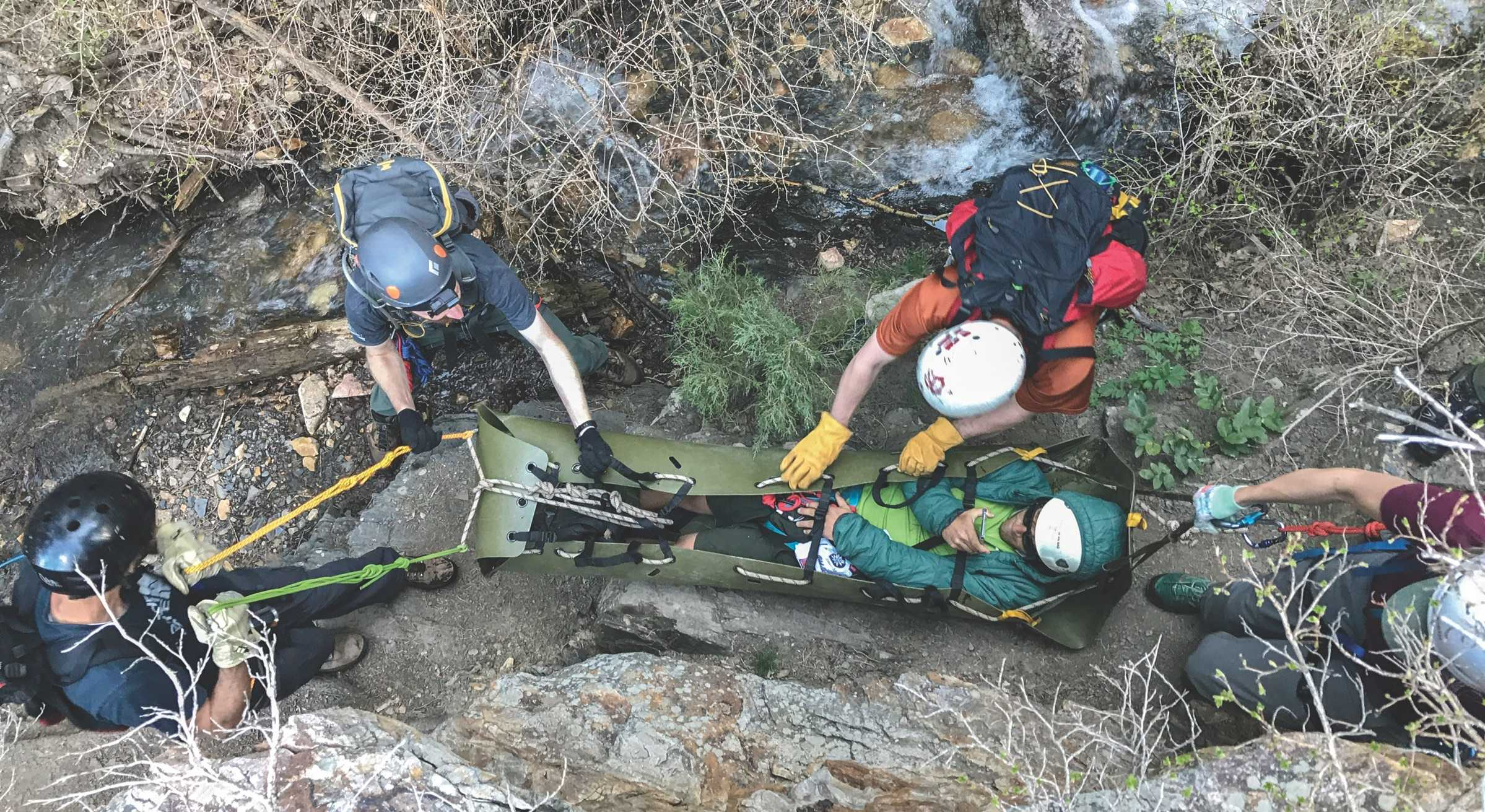 A Salt Lake County search and rescue training exercise; often times, the victim must be carried out of hard to navigate terrain
