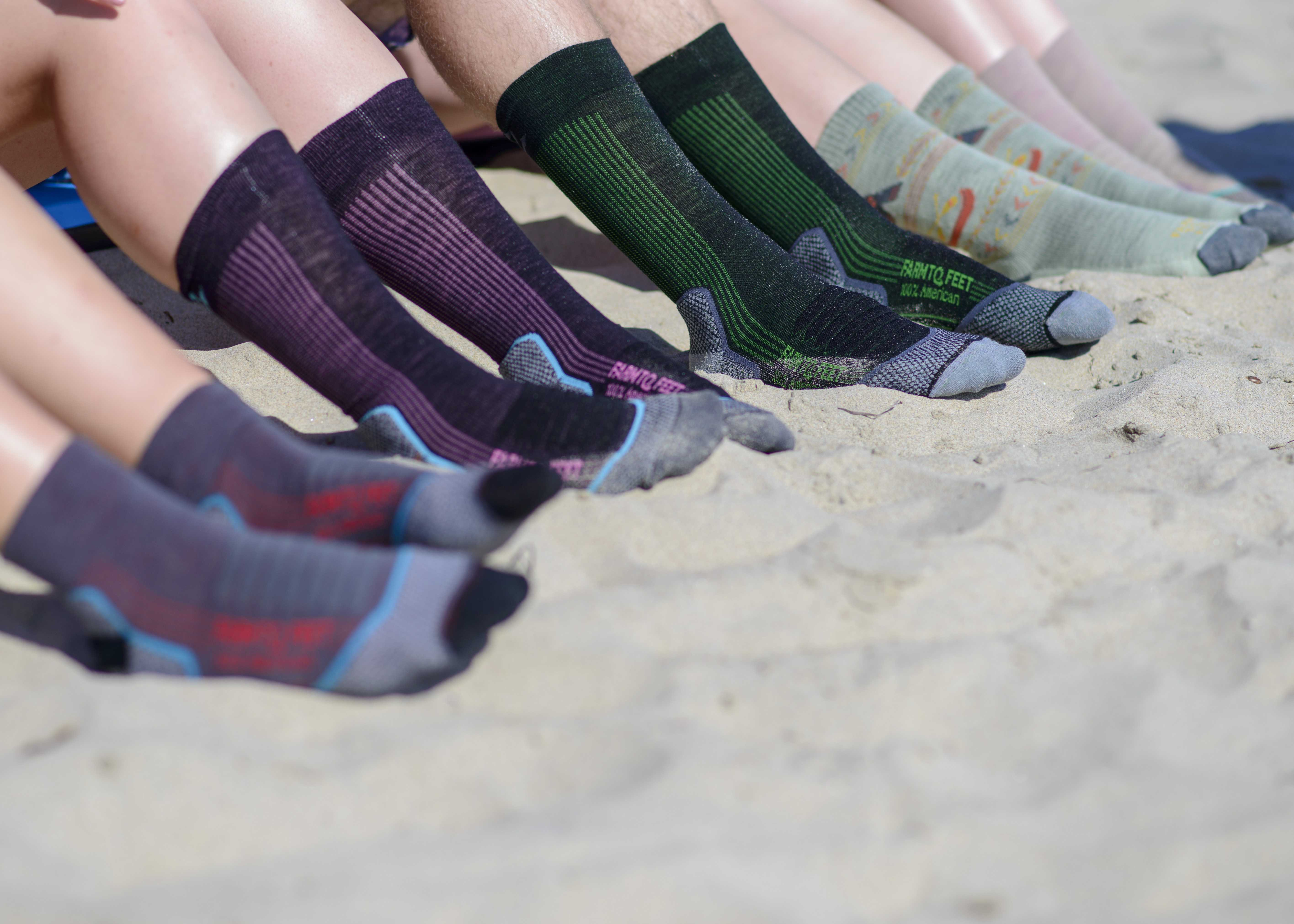Full assortment of both casual and athletic socks produced by Farm to Feet