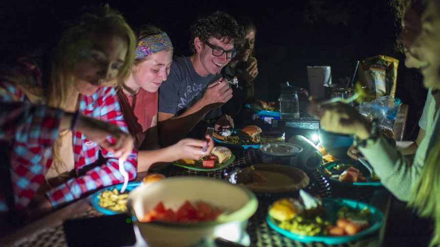 Plenty of smiling faces around the dinner table and campfire at the first ever Wasatch Magazine friendsgiving