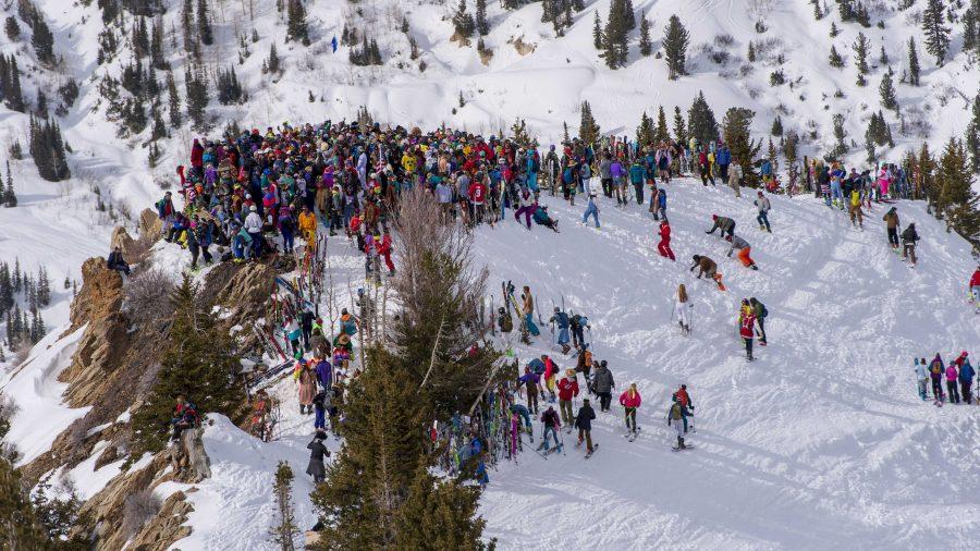 Enjoying last day of skiing at Alta Ski Resort in Salt Lake City, Utah on Sunday, April 15, 2018.  (Photo by Kiffer Creveling)