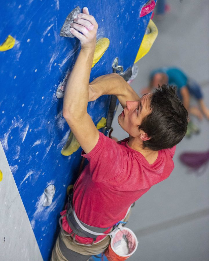 Members from the University of Utah Climbing Team using loose chalk on the wall.  (Photo by Kiffer Creveling   Wasatch Magazine)