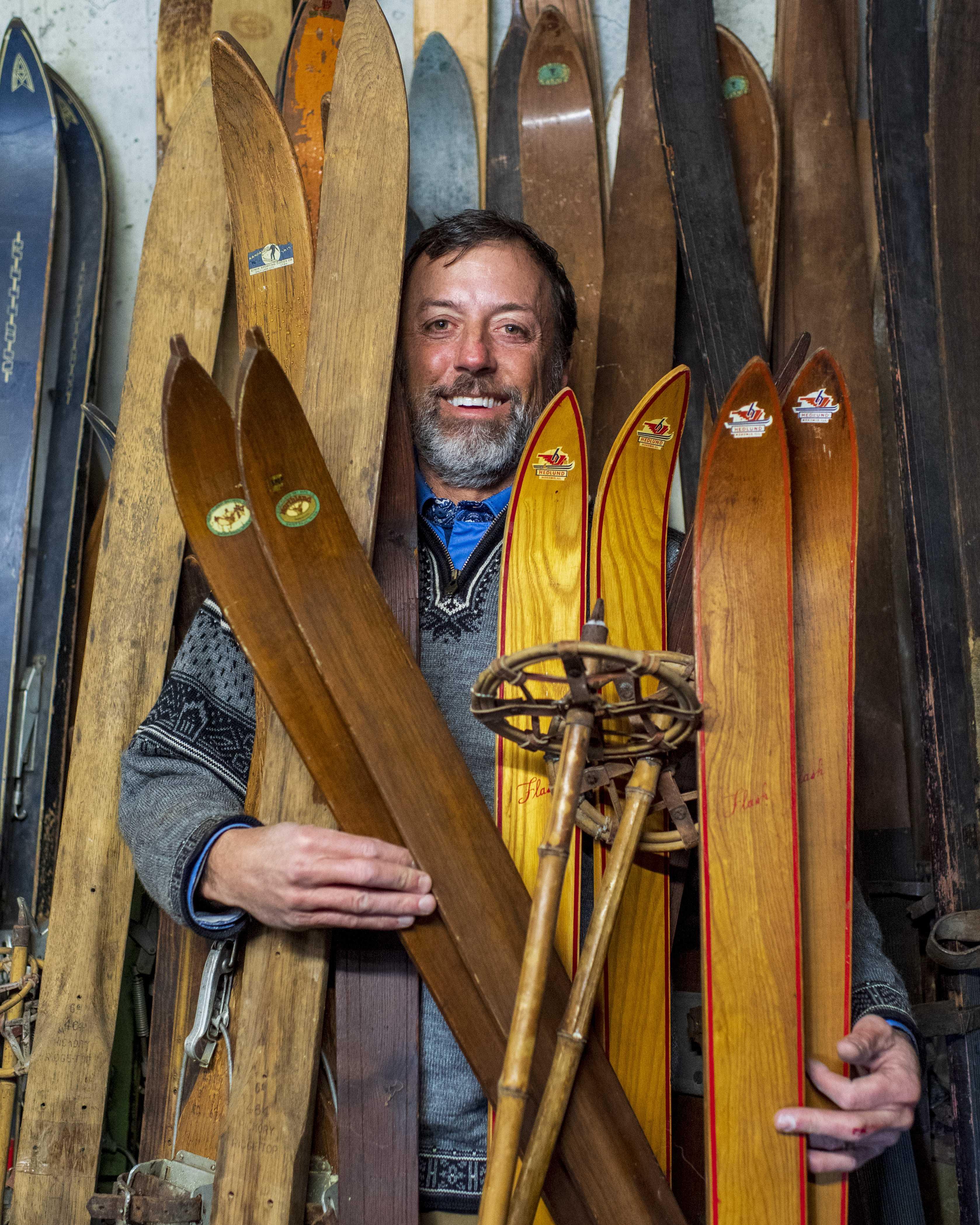 Mark Miller's antique ski and snowshoe collection in Park City, UT on Sunday, Feb. 24, 2019. (Photo by Kiffer Creveling)