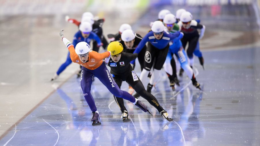 The Ladies mass start race at the ISU World Cup Speed Skating competition at the Utah Olympic Oval in Salt Lake City, Utah. Event centers like this would need some modification but are in shape to host another winter games.   (Photo by Kiffer Creveling)