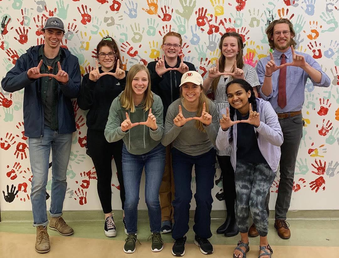 Photo Courtesy of Nina Borzoni: The 2018-2019 ASUU Sustainability Board who helped ensure the University of Utah as the host of the 2020 Pac-12 Sustainability Conference.